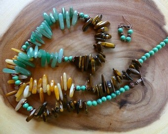 29 Inch Contemporary Southwestern Tiger Eye and Yellow Agate Stick Bead Necklace with Copper Accents