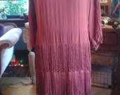 1920s Vintage Red Fringed Dress. Deco detail. Stunning. Swingy drape