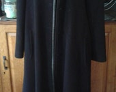 Louis Feraud Vintage French Black Wool and Leather Trim Long Coat