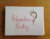 vintage girls slumber party invitation set of 10 with envelopes by castle new okd stock nos pink atomic