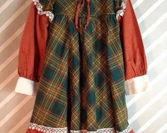 vintage sears perma-prest earthy boho forest green chestnut plaid prairie dress size 5-6-7 years
