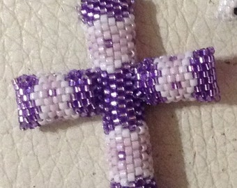 Cross Native hand designed and hand beaded Shiny purple and light lilac Cross OOAK pendant necklace religious symbol protection Delica beads