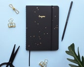 Black Speckle Gold Foil Personalized Notebook