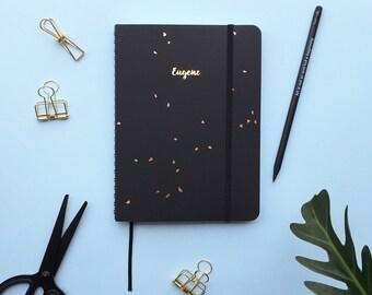 Black Speckle Gold Foil Personalized Notebook/Sketchbook
