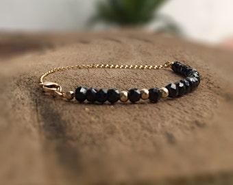 Gemstone Beaded Bracelet Black Spinel Jewelry Black Gem Bracelet Birthday Gift Anniversary Jewelry Fine Jewelry