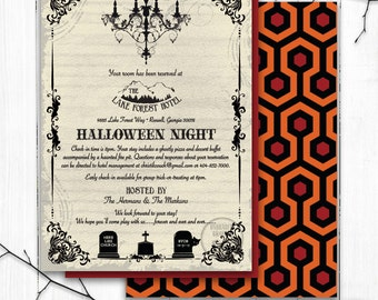 Halloween Party Invitation, Haunted Mansion Invite, The Shining theme Halloween Party, Horror Movie Theme, Gothic Chandelier Invitation