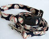 Baseball dog collar with matching leash - adjustable, navy blue, spring, MLB, custom sizes