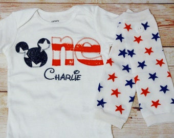 Mickey Mouse Inspired Patriotic Americana Birthday Shirt - Birthday ONE Shirt and Leg Warmers - American Flag Shirt