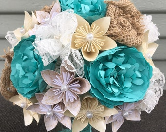 Paper and burlap flower bouquet, lace flowers, rustic wedding, aqua blue wedding, unique bouquet, wedding flowers, anniversary gift