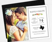State Save the Date, Printable Save the Date, Printed Save the Dates, Postcard, Magnets, Note Cards, PDF, Texas, Watercolor Flowers, Stately