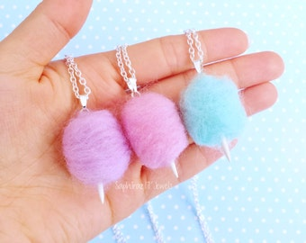 Kawaii Pastel Cotton Candy/ Candy Floss Necklace