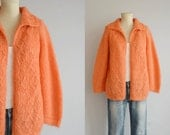 Vintage 60s Mohair Cardigan / 1960s Melon Orange Fluffy Wool Cable Sweater