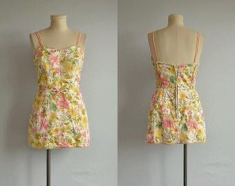 Vintage 60s Swimsuit / 1960s Bathing Suit Play Suit Floral Print Skirt / Vintage Romper