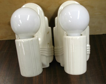 1998 Pair White Porcelain Bathroom Kitchen Wall Sconces Rewired Restored w/ Bulbs