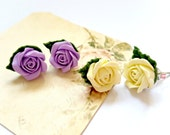 Rose Ear Posts. Set of (2) Pairs . Polymer Clay Rose with Green Leaf. Ivory, Purple Floral Post Earrings. Silvery Post. Bridal Gifts.