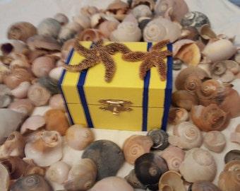 Sailor's Valentine, Mermaid Jewelry box, gift box with hand collected sea stars from Folly Beach, South Carolina! Nautical, coastal