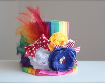 Big Top Circus Clown Inspired Rainbow Mini Top Hat Headband (or fascinator)-Perfect Circus Birthday or Photo Prop