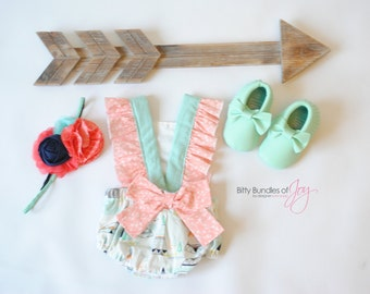 """Baby and Toddler Tribal Vintage Inspired Bubble Romper - Southwest Romper - Aztec Sunsuit - Teepee Arrow Romper - """"Arrowhead"""" Bubble"""