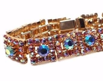 Vintage Aurora Borealis Rhinestone Bracelet Pink and Blue