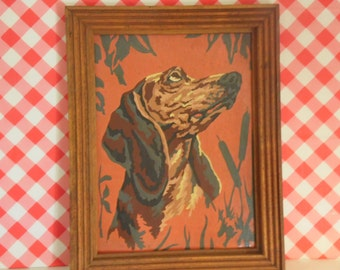 Framed Dog Paint By Numbers Hunting Dog Painting Hound Dog Art Retro Wall Hanging 1950s Home Decor
