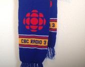 Vintage Scarf, Vintage Knit Scarf, CBC Radio Scarf, CBC Radio 3, Vintage Winter Scarf, Canadian Broadcasting Corporation