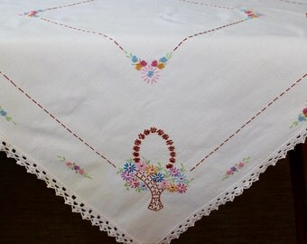 Vintage Linen Tablecloth Hand Embroidered Crochet Flowers Garden Pastel Table Topper Bridal Baskets