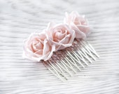 Rose hair comb, Pink flower hair accessories, Silk rose hair comb,Bridal hair comb,Blush wedding hair accessories,Wedding flowers,Rose hair