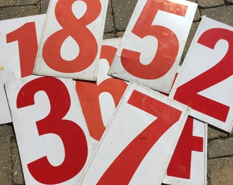 "Metal Gas Station Number - Your Choice- Double Sided - RED metal sign number- gas station price number 15"" tall - Industrial number"