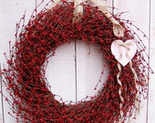 LARGE Spring Wreath-Spring Home Decor-Love is in the Air-Front Door Wreath-Summer Wreath-RUSTIC HEART Red Berry Door Wreath-Etsy Wreaths