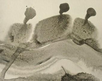 Mysterious Monochrome Figures on a Postcard A1