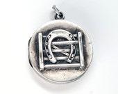 Beautiful Lucky Horseshoe Repoussé Victorian Silver Locket