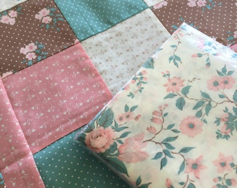 Unfinished quilt top and backing, Free shipping, Lap Comfort Quilt, Patchwork, Handmade, Includes Backing Fabric