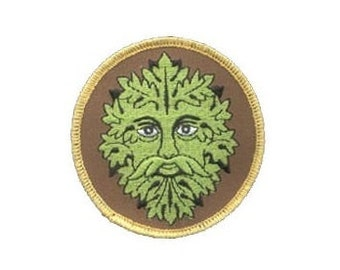 "Green Man Patch - 3"" Round patch, Iron-on patch, Sew-on applique, Wiccan pagan, Embroidered patch, Greenman patch, Nature applique"