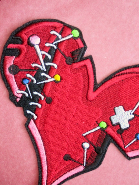 Embroidered Valentine Broken Heart Applique Patch Pins
