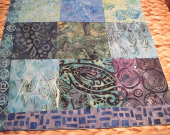 """14"""" x 14"""" Batiks Pillow COVER - 9 Sunrise Aqua and Turquoise Squares Hummingbird in Forest or Tropical Garden"""