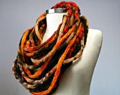 Knitted tupe infinity scarf, necklace, autumn color, knit neckwarmer, winter women accessories, chunky scarf, knit scarf, tube fiber scarf