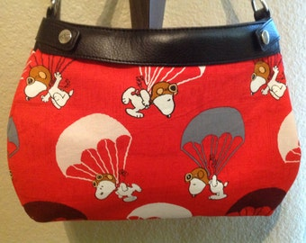 Snoopy flying ace print SUITE skirt purse skirt cover handmade Thirty one