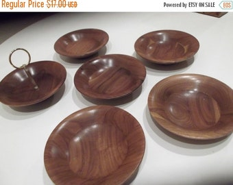 MOVING SALE Gorgeous Mid Century American Walnut Bowls With Finial Top Six Piece Set