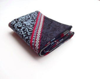 Recycled Necktie Trifold Wallet - navy and red