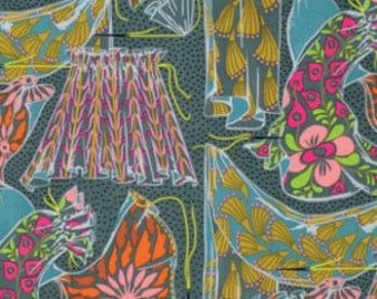 Fibs & Fables by Anna Maria Horner for Free Spirit - Dressmaker - Flint - 1/2 Yard Cotton Quilt Fabric 516