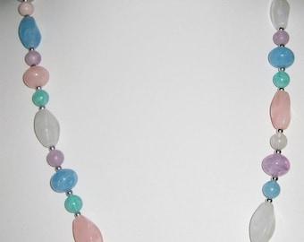 SALE Multi-Color Vintage Lucite Bead Necklace-Spring-Summer Colors