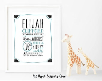 Customized Birth Announcement Print/ Birth Stat Wall Art/ Custom Wall Art/ Nursery Wall Decor/ Wall Art/ For the Baby/ Baby Shower Present