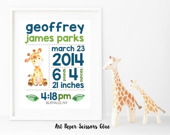 Watercolor Giraffe Birth Announcement Print
