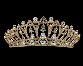 Gold Swarovski Crystals Tiara Women Crown Bridal Wedding Hair Jewelry Accessories SHA8628-1
