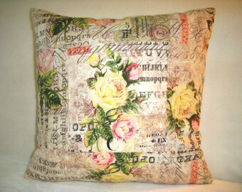 Rose Pillow Cover Pink Green Floral Flowers Yellow Script Stamps Numbers French Country English Garden Farmhouse Shabby Chic