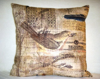 Vintage Look Pillow Cover Tim Holtz Wallflower Bird Aviary Tree Nature Leaves Feathers Letter Numbers Script Black Blue Brown Pink Cream