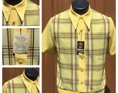 Vintage NOS 1970s Men's Short Sleeve Plaid Knit Shirt  - 70s DEADSTOCK Butterfly Collar Shirt -