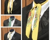 Set of FOUR Vintage 1950s SILK Western Neckerchiefs / Scarfs --  Set of 4 Silk 50s COWBOY Neckties --