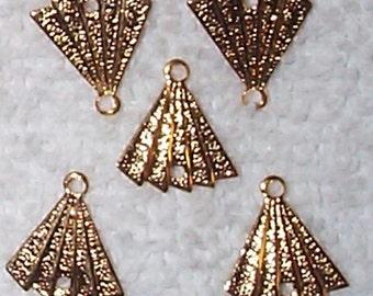 Vintage Very Cute Brass Fan Charm