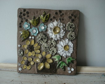 Large Decorative Tile/Swedish Flower Tile/Large Ceramic Tile with Flowers/wall decor